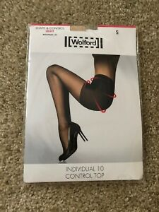 WOLFORD Individual 10 Control Top Pantyhose Tights  New Womens Size Small Light