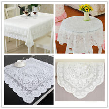 White Vintage Embroidered Lace Tablecloth Dining Table Cloth Mat Doilies Wedding