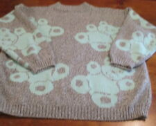 Sugar Co Ltd Sweater Acrylic Vintage Gray w Aqua Blue Teddy Bears Size M 90s