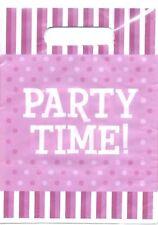 Purple Party Supplies Polka Dots & Stripe- Party Time Party Favour Lootbags 10pk