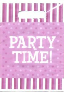 """Purple Party Loot Bags / Lolly Bags 10pk - Polka Dots & Stripe """"Party Time"""""""