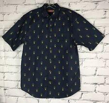 Havanera Mens Shirt Small Pineapple Print Navy Blue Button Up Top Short Sleeve