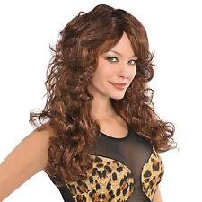 Mujer Largas Marrón Peluca Ondulada Disco AÑOS 60 70 80 pelo estilo elástico