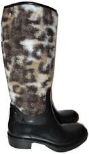 $498 Roberto Cavalli Leopard Wool Black Rubber Rain Boots Waterproof Bootie 37