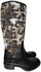 $498 Roberto Cavalli Rain Boots Leopard Wool Black Rubber  Waterproof Booties 37