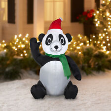 Inflatable Panda With Santa Hat 3.5 Tall Christmas Decoration Outdoor Adorable