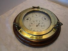 "Retro Wood & brass Wall clock Ship Porthole Hygro Thermo Barometer 13.5"" across"