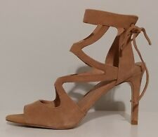 "NEW!! Tahari Beige Leather Suede Sandals 4"" Heels Size 8M US 38M EUR"
