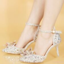 Lady's Crystal Rhinetone Sexy High Heels Shoes Ankle Strap Pumps Wedding Party