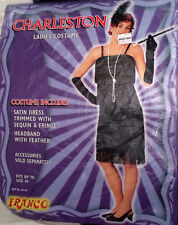 Ladies Black 1920s Flapper Costume Gatsby Dress Up Charleston Outfit To Size 10