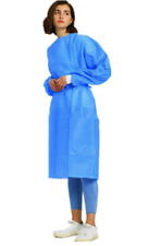 10/Pk. Blue Medical Dental Gown with Knit Cuff Large Size Gowns Level III