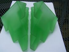 More details for pair of art deco green frosted glass bookends
