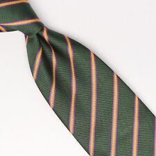 John G Hardy Mens Silk Necktie Green Purple Yellow Stripe Weave Woven Tie Italy