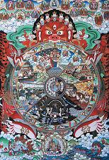 "50"" BLESS EMBROIDERED BROCADE SCROLL TIBETAN THANGKA: BHAVACHAKRA,WHEEL OF LIFE="