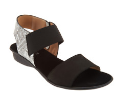 Sesto Meucci Leather Color Block Sandals - Eirlys Black Multi Womens 6W Wide