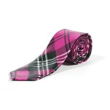 Retro Colourful Hot Pink Tartan Checkered Skinny Tie - New Cheap Fancy Dress