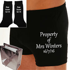 "PERSONALISED Bride to Groom gift Wedding Day Boxer shorts ""PROPERTY OF MRS?"""