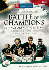 SOUTH AFRICA v ARGENTINA 18 Aug 2012 RUGBY PROGRAMME - 1st CHAMPIONSHIP MATCH