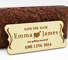 20 Custom Engraved Wooden Magnet Rustic Wedding Save the Date Wooden-eUd