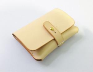 men women wallet purse cow Leather Card Cases ID bifold bag customize beige Z793