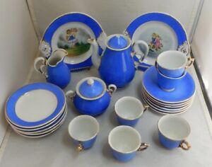 Antique German 22 pc BLUE Child's Miniature Tea Set Hand Painted Serving Plates