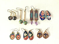 7 pairs of earrings enamel floral designs vintage colorful gold tone 6 pierced
