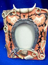 VTG COWBOY WESTERN RED & BLACK PICTURE FRAME OVAL FOTO CERAMIC? CLAY? RESIN?