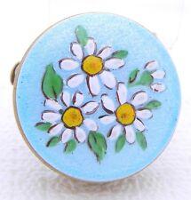 VTG Gold Tone Daisy Flowers Enamel Pill Box