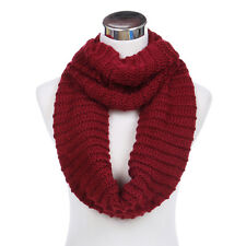 TrendsBlue Premium Solid Chunky Ribbed Knit Warm Infinity Loop Circle Scarf