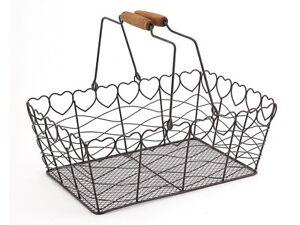 French Style Metal Heart Wire Fruit Egg Basket Kitchen Garden Wedding Decoration