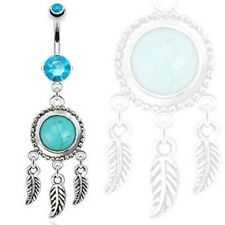 Dream Catcher w/Turquoise Semi Precious Stone & Leaves Dangle Belly Navel Ring