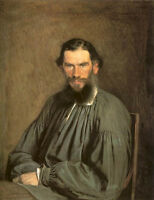 Beautiful huge Oil painting Male Portrait of the Writer Leo Tolstoy seated