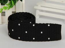 Men's Black White Polka Dot Knit Tie Necktie Narrow Slim Skinny Woven ZZLD354