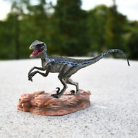 Blue Velociraptor Raptor Dinosaur Figure Animal Model Base Toy Collector Decor