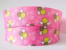 1M X 22mm Grosgrain Ribbon Craft DIY Cake Decorations Hair Bows Pink Bee