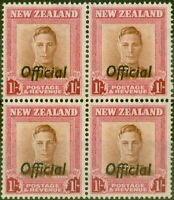 New Zealand 1949 1s Red-Brown & Carmine SG0157a Plate 1 V.F MNH Block of 4