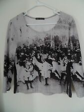 Women  Size Large  Knit Top Mechant Old time Print 3/4 Sleeves