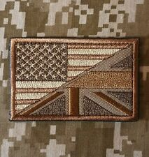 LONDON BRISTISH USA AMERICAN FLAG ARMY MORALE TACTICAL DESERT HOOK PATCH