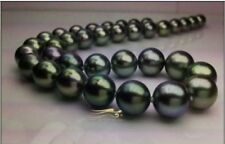 """Huge 18""""12-13mm natural Tahitian genuine black perfect round pearl necklace"""