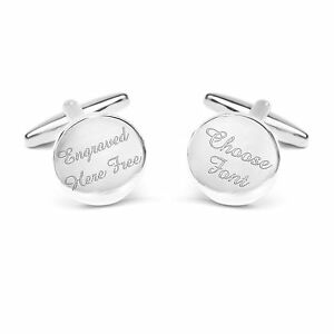 Engraved Round Cuff Links Weddings Best Man Usher Father Groom Bride Circular