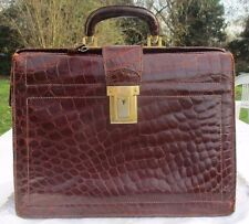 Red Brown Crocodile Brief-case / Cartable crocodile haute gamme marron -roux
