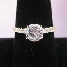 Modern STERLING SILVER White Gold Solitaire Accented CZ Band Ring Size 8