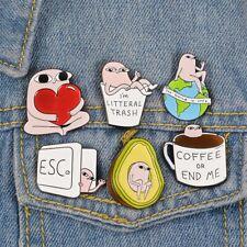 Enamel Pins Cartoon Avocado Coffee Cup Brooches Badge Denim jeans Lapel Pin Cute