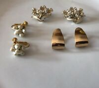 Lot 3 Designer Signed Costume Jewelry Napier Les Bernard Coro Earrings