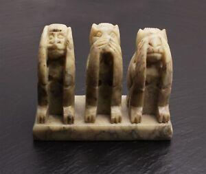 Gravur 3 Affen Drei Affen Speckstein Indien 10 cm Handarbeit Kunst Steinschatz