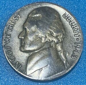"""1943 United States 5 Cents """"Jefferson Wartime Nickel"""" Silver Coin"""