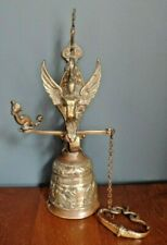More details for vintage brass church wall bell figural angel qui me tangit vocem meam audit