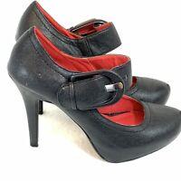 Madeline Stuart Black Mary Jane Platform High Heels Bellavita Wide Buckle Size 8