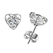Women's girls silver heart clear gem crystal  Stud dangle drop Earrings UK
