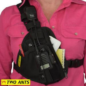 Phone & Radio Holster Chest Harness - Right - Black - Two Ants Pharaoh CT100SRBK